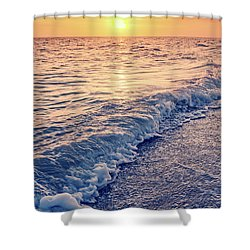 Shower Curtain featuring the photograph Sunset Bowman Beach Sanibel Island Florida Vintage by Edward Fielding