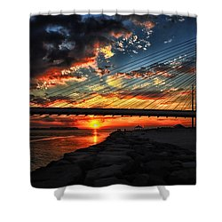 Sunset Bridge At Indian River Inlet Shower Curtain