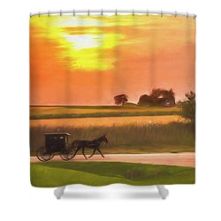 Shower Curtain featuring the photograph Sunset Buggy Ride by Joel Witmeyer