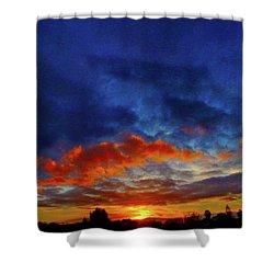 Sunset Burst Shower Curtain by Mark Blauhoefer