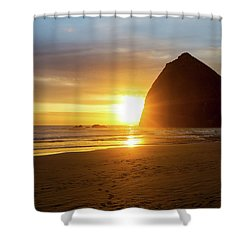 Sunset By Haystack Rock At Cannon Beach Shower Curtain by David Gn