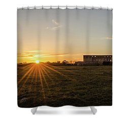 Sunset By Old Castle Ruin Shower Curtain by Kennerth and Birgitta Kullman