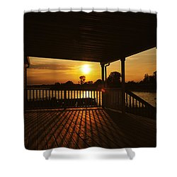 Sunset By The Beach Shower Curtain by Angel Cher