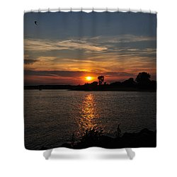 Shower Curtain featuring the photograph Sunset By The Inlet by Angel Cher