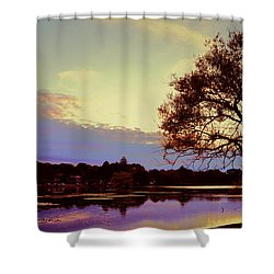 Sunset By The Pond Shower Curtain