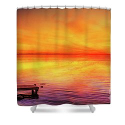 Shower Curtain featuring the digital art Sunset By The Shore by Randy Steele