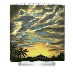 Shower Curtain featuring the painting Sunset Clouds by Anastasiya Malakhova
