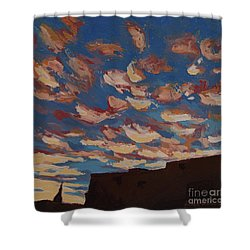 Shower Curtain featuring the painting Sunset Clouds Over Santa Fe by Erin Fickert-Rowland