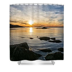 Sunset Cove Gloucester Shower Curtain by Michael Hubley