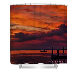 Sunset Cruise  Shower Curtain