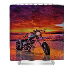 Shower Curtain featuring the photograph sunset Custom Chopper by Louis Ferreira