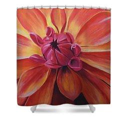 Sunset Dahlia Shower Curtain