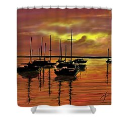 Shower Curtain featuring the digital art Sunset by Darren Cannell