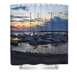 Shower Curtain featuring the photograph Sunset Dock by Felipe Adan Lerma