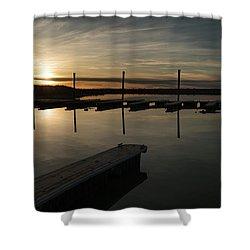Sunset Docks Shower Curtain by Justin Johnson