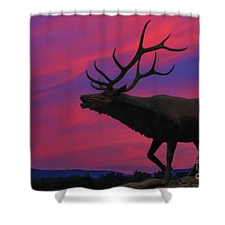 Shower Curtain featuring the digital art Sunset Elk by Randy Steele