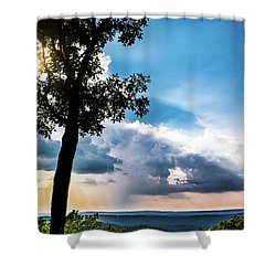 Shower Curtain featuring the photograph Sunset Explosion by Shelby Young
