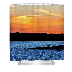 Sunset Fisherman  Shower Curtain