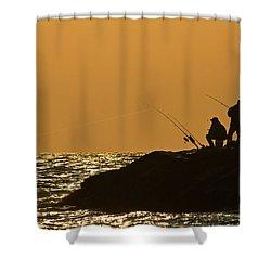 Sunset Fishermen Shower Curtain