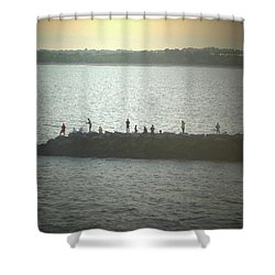 Sunset Fishermen Shower Curtain