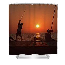 Sunset Fishermenr Shower Curtain