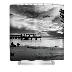 Sunset Fishing In Black And White Shower Curtain