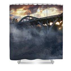 Sunset Fog At Caveman Bridge Shower Curtain by Mick Anderson