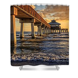 Sunset Fort Myers Beach Fishing Pier Shower Curtain by Edward Fielding