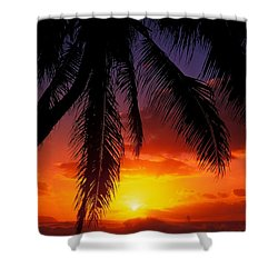 Sunset From The Beach Shower Curtain by Vince Cavataio - Printscapes