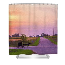 Shower Curtain featuring the photograph Sunset Gallop by Joel Witmeyer