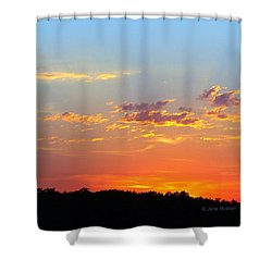 Shower Curtain featuring the digital art Sunset Glory Orange Blue by Jana Russon