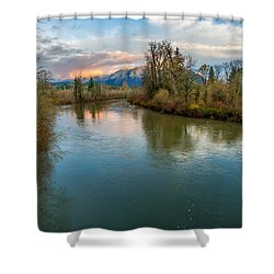 Sunset Glow Over The Snoqualmie River Shower Curtain