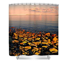 Sunset Glowing On Beach Rocks Shower Curtain
