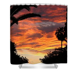 Sunset God's Fingers In Clouds  Shower Curtain by Diane Greco-Lesser