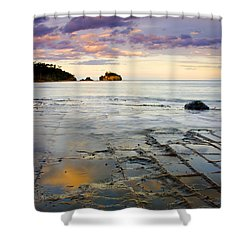 Sunset Grid Shower Curtain by Mike  Dawson