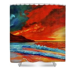 Sunset Hawaii Shower Curtain by Jenny Lee