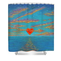 Sunset Heart 01 Shower Curtain