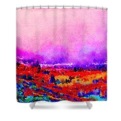 Shower Curtain featuring the painting Sunset Hills by Angela Treat Lyon