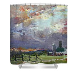 Sunset In A Troubled Weather Shower Curtain by Ylli Haruni