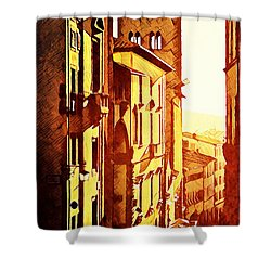 Sunset In Arezzo Shower Curtain by Andrea Barbieri