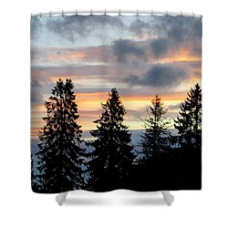 Sunset In Blue And Pink Shower Curtain