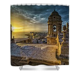 Shower Curtain featuring the photograph Sunset In Cadiz Cathedral View From Levante Tower Cadiz Spain by Pablo Avanzini