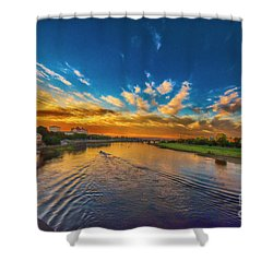 Sunset In Dresden Shower Curtain by Pravine Chester