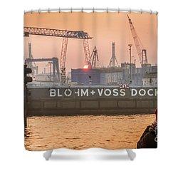 Sunset In Hamburg Port Germany Shower Curtain