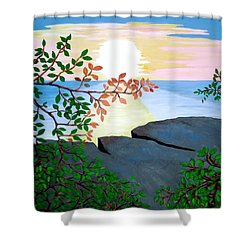 Shower Curtain featuring the painting Sunset In Jamaica by Stephanie Moore