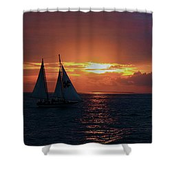 Sunset In Key West Shower Curtain by Ron Grafe