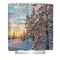 Shower Curtain featuring the photograph Sunset In Lapland by Delphimages Photo Creations