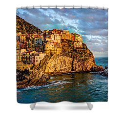 Shower Curtain featuring the photograph Sunset In Manarola by Wade Brooks