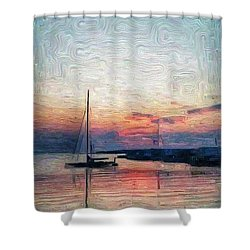 Sunset In Oil Tarpaulin Cove Shower Curtain