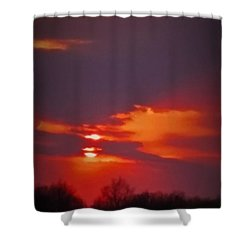 Shower Curtain featuring the photograph Sunset In Red by Deborah DeLaBarre
